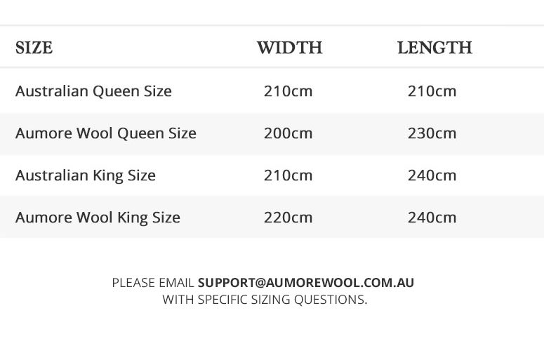 Aumore Wool Size Guide